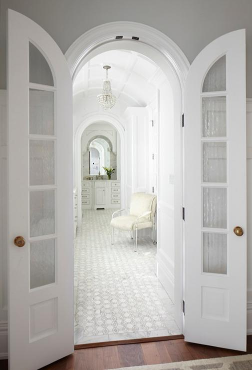 Master Bathroom with Arched Bi Fold Doors - Transitional - Bathroom