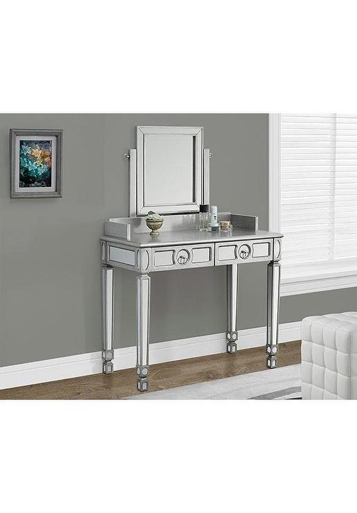 Brushed Silver Mirrored Vanity. Silver Mirrored Vanity
