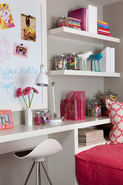 Girls Room Built In Desk Design Ideas