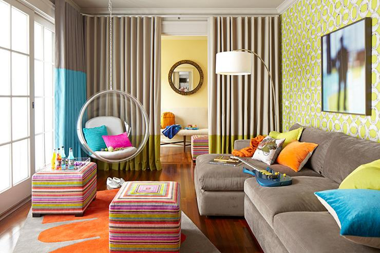 Taupe Sofa With Orange Pillows Design Ideas
