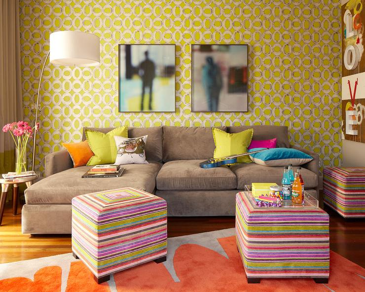 Yellow and Gray Family Rooms - Contemporary - Living Room