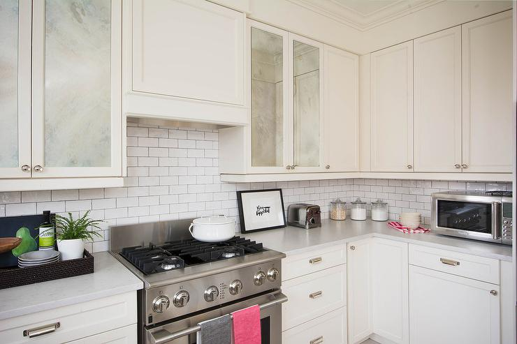Antiqued Mirrored Kitchen Cabinet Doors Transitional
