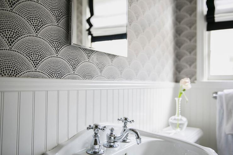 black and white wallpaper for bathrooms fan shaped wallpaper design ideas 25150