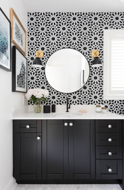 Black Bathroom Vanity With White Quartz Counter