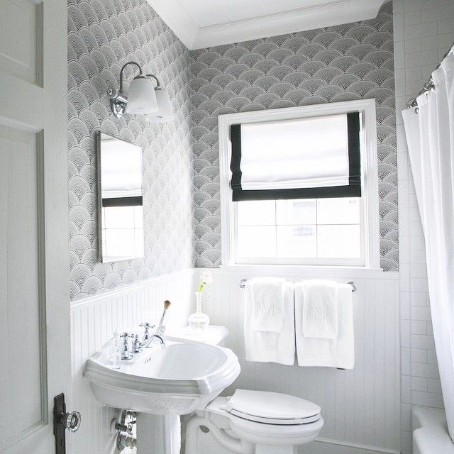 Black and white bathroom wallpaper transitional bathroom for Dark bathroom wallpaper
