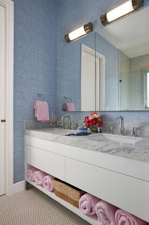 blue and pink bathrooms transitional bathroom