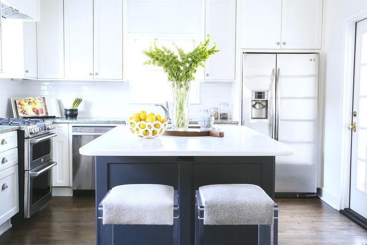 Grey And White Kitchen With Island white kitchen cabinets with gray subway tile backsplash