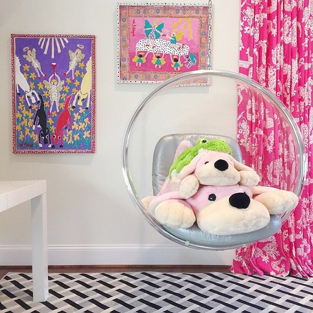 Genial Girls Room With Acrylic Bubble Hanging Chair