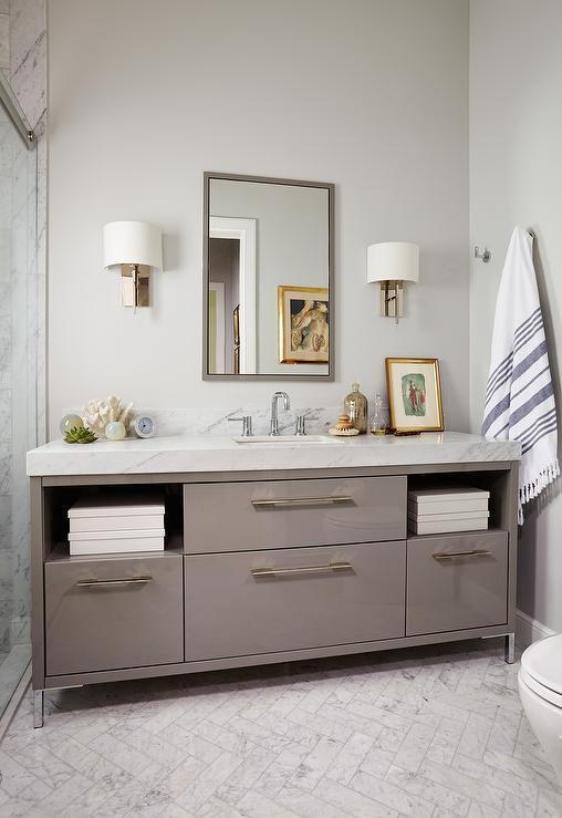 Gray Lacquered Bathroom Vanity Contemporary Bathroom