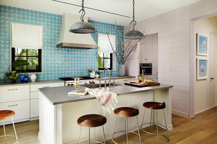 Kitchen Island With Galvanized Metal Pendants Cottage