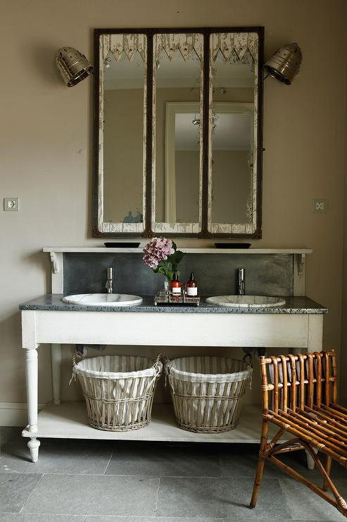 Weathered double washstand transitional bathroom Double sink washstand