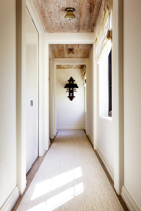 Long Foyer : Hallway with weathered plank ceiling transitional