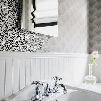 Black and White Fan Shaped Wallpaper. Fan Shaped Tile Backsplash Design Ideas