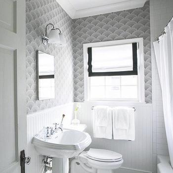 Black and white guest bathroom transitional bathroom for Dark bathroom wallpaper