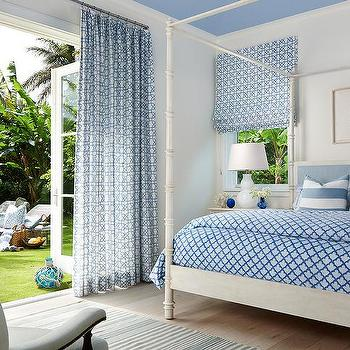 Ivory And Blue Curtains Design Ideas