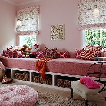 Girls Bedroom With Built In Pink Window Seat