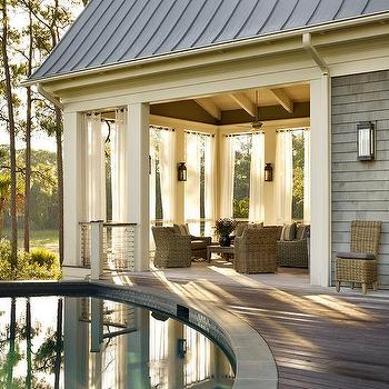 Pool Cabana with Black and White Striped Grommet Curtains ...
