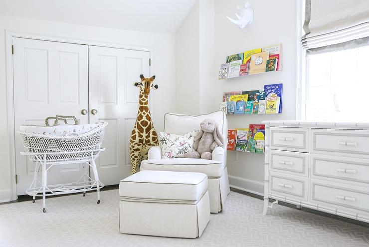 Nursery With White Bamboo Dresser Transitional Nursery