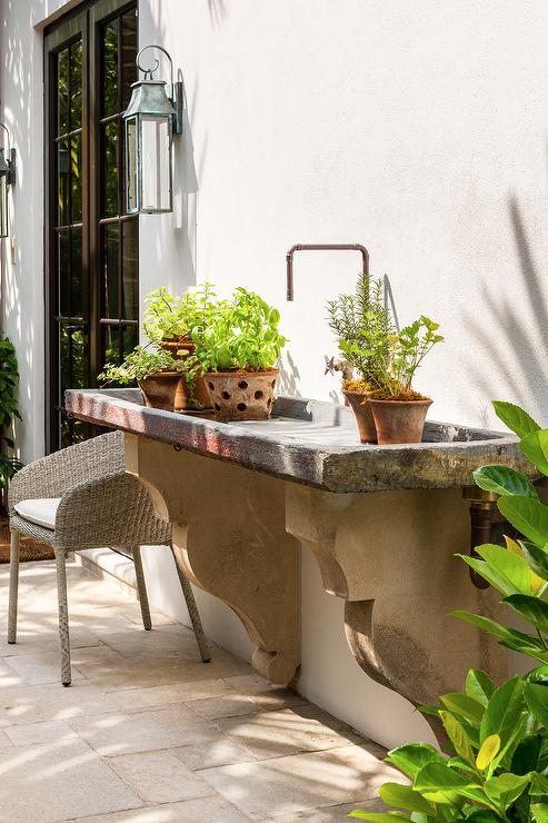 Outdoor Concrete Garden Sink Transitional Garden