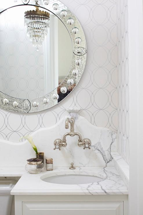 Bathroom with Darcy Wallpaper - Transitional - Bathroom