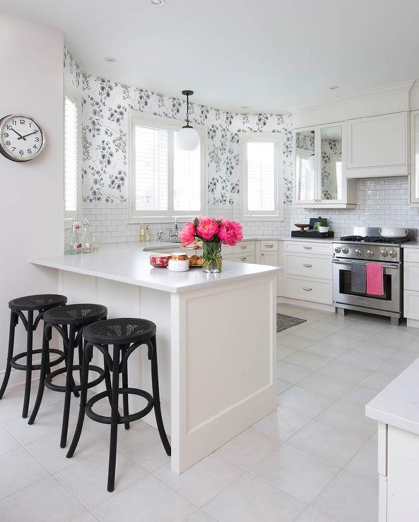 Black And White Kitchen With Pink Accents Transitional