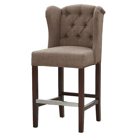 Noho Grey Linen Nailhead Trim Counter Stool Overstock Com