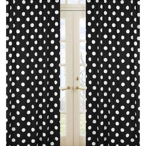 Sweet JoJo Designs Hot Dot Black And White Window Panels