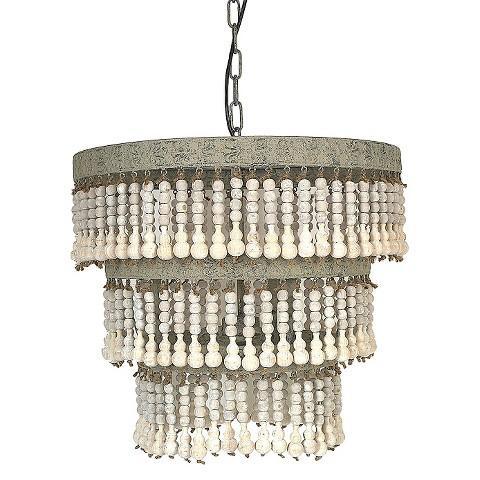 metal and wood natural beaded chandelier. Black Bedroom Furniture Sets. Home Design Ideas