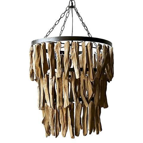 Evelyn indoor or outdoor brown wood chandelier for Natural wood chandelier