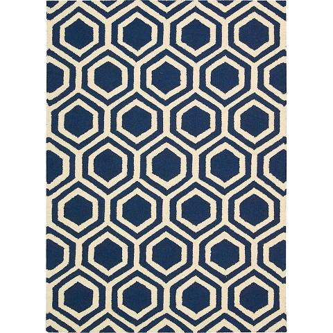 Hexagon Linear Blue And Ivory Rug