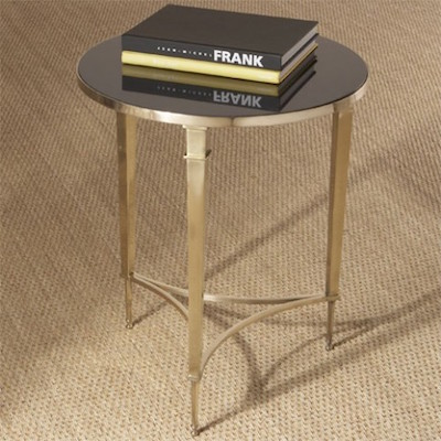 Round French Square Leg Accent Table In Brass View Full Size