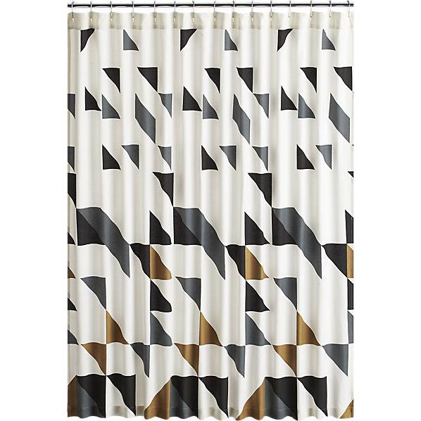 black white gold shower curtain.  Triangle Black And White Shower Curtain