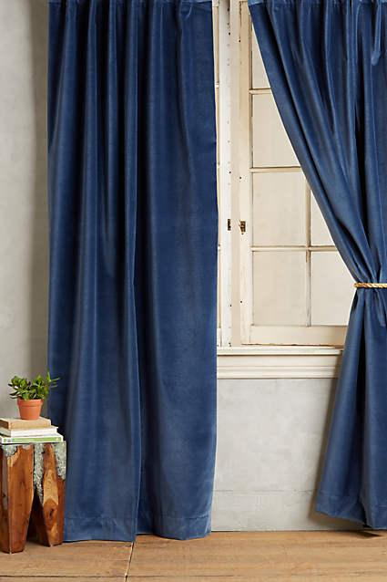 Curtains Ideas blue velvet curtains : Chinchilla Grey Vintage Cotton Velvet Curtains and Drapes