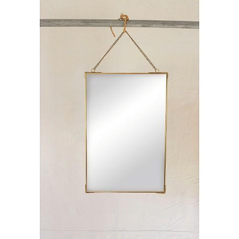 Rectangular chain hanging brass mirror for Hanging mirror