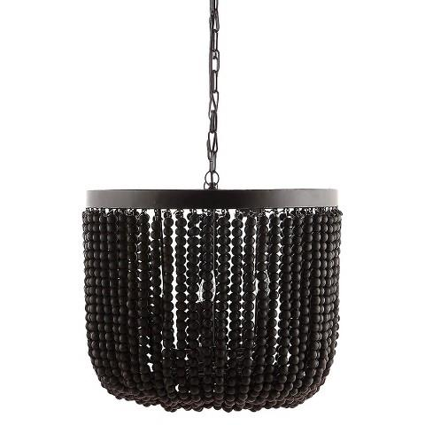 Metal Chandelier With Black Wood Beads