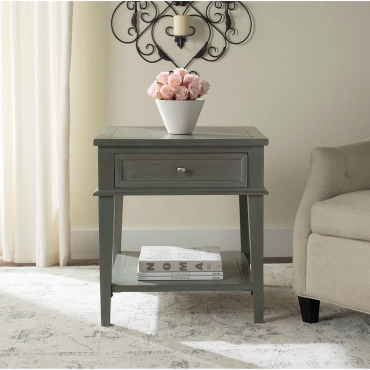 Safavieh Manelin Ash Grey End Table view full size - Grey End Table - Products, Bookmarks, Design, Inspiration And Ideas.