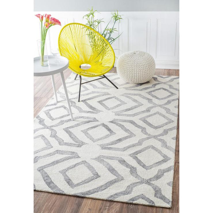 NuLOOM Contemporary Handmade Abstract Gray And White Wool Rug