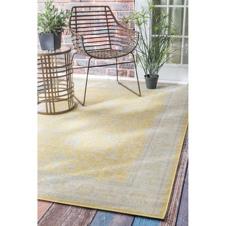 Arabesque Indoor Outdoor Rug Yellow View All Rugs