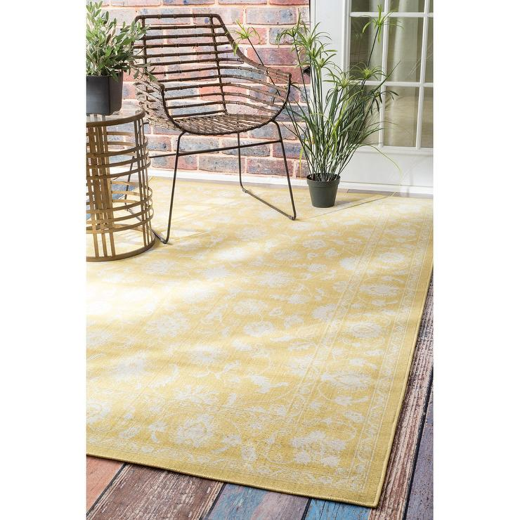NuLOOM Traditional Modern Indoor And Outdoor Yellow Vintage Porch Rug