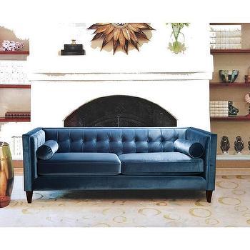 Boca Tufted Aqua Velvet Sofa I Roomservicestore