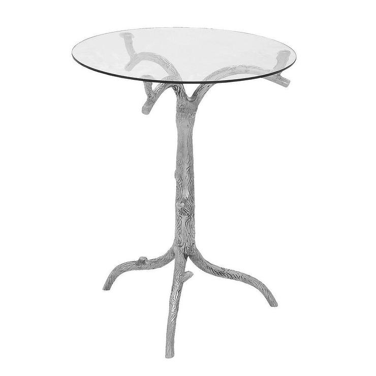 Casa Cortes Nature Artisan Round Pedestal Silver End Table