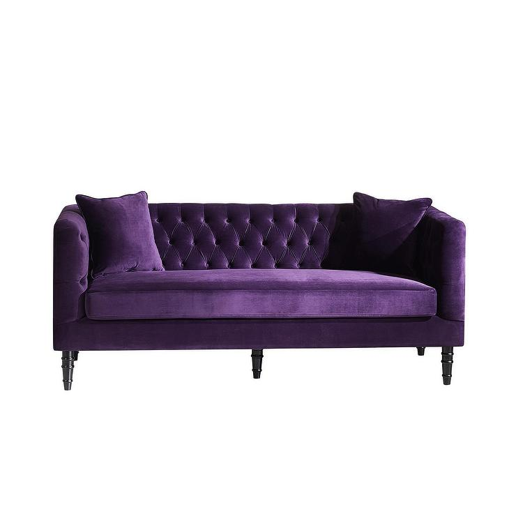 Flynn french inspired purple velvet upholstered sofa for Purple sofa