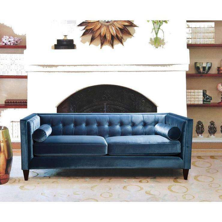 jennifer taylor blue velvet polyester tufted back sofa