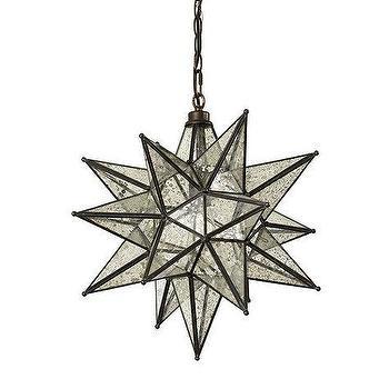Moravian Gold Star Glass Pendant