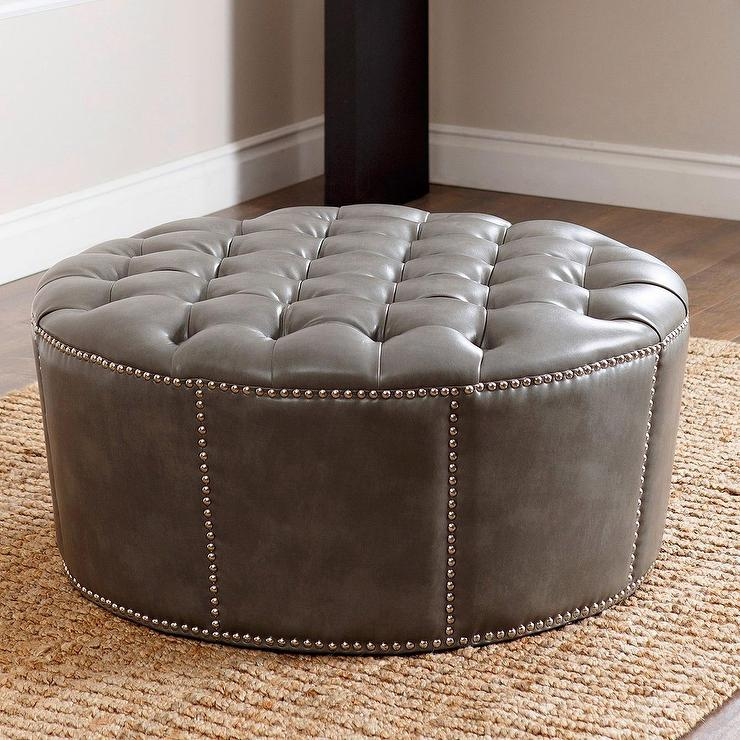 ABBYSON LIVING Newport Grey Leather Nailhead Trim Round