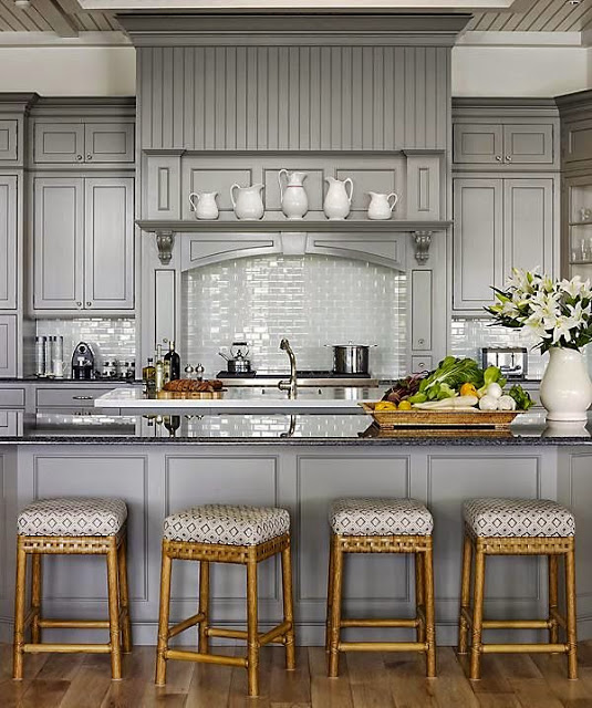 Gray Kitchen With Bamboo Stools