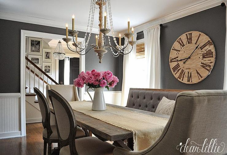 Dark gray dining room paint colors french dining room for Dark grey dining room