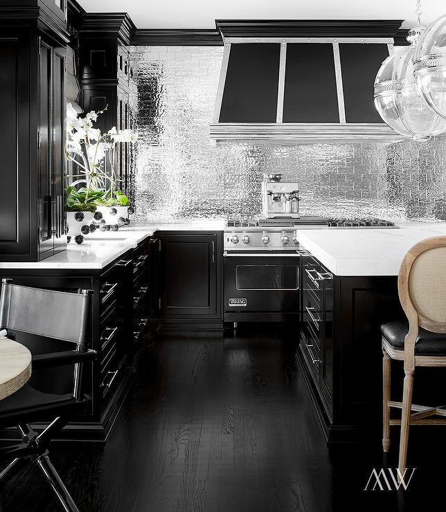 Black kitchen with silver subway tile backsplash for Dark tile kitchen floor