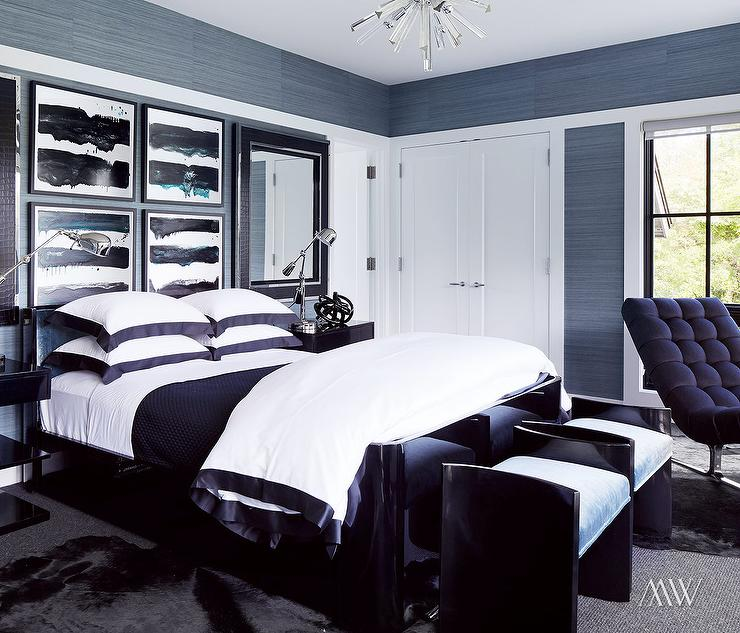 White and blue border duvet and shams contemporary bedroom for Black and white modern bedroom ideas