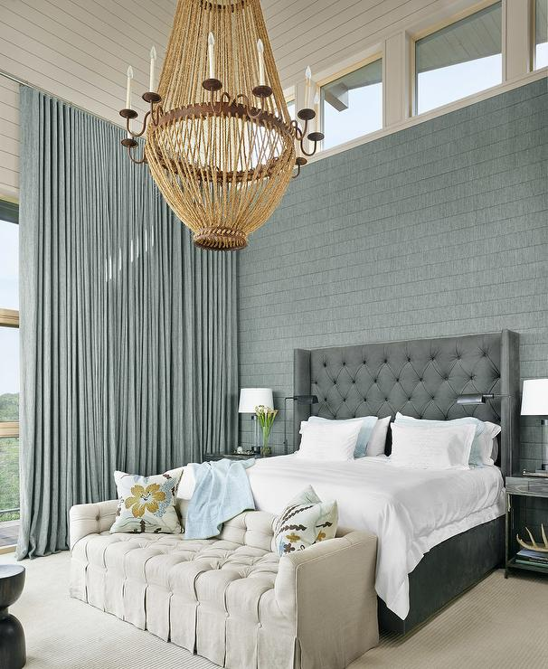 Blue And Grey Bedroom Features A Shiplap Vaulted Ceiling
